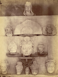Sculpture fragments: heads of Buddhas and Bodhisattvas from Jamal-Garhi.